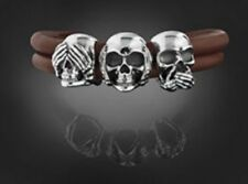 Armband Leder Komplett Rebeligion mit Totenköpfe und Verschluß Black Rock Medium