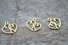 30PCS Fashion Findings,Accessories Antique Gold Heart charm pendant 19*16MM