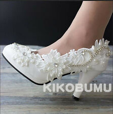 Ivory White Wedding shoes Lace Crystal Bridal Bridesmaid Flat High Low Heels