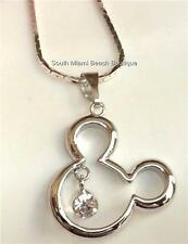 Mickey Mouse Ears Crystal Necklace Disney Silver Plated 18 inches USA Seller