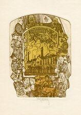 "Jaroslav Hasek, ""The Good Soldier Svejk""   Ex libris Etching by Pavel Hlavaty"