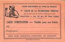 71 MACON CARTE INVITATION SALON TECHNOLOGIE VINICOLE VIN 1956