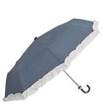 Clayre & Eef Taschenschirm Regenschirm Schirm blau creme Dots Rüschen