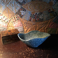 Rustic ROSEVILLE Pottery CAPRI Leaf DISH / BOWL with mottled turquoise glaze