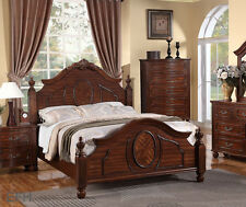 NEW ANNETTE TRADITIONAL ELEGANT BURNISHED CHERRY FINISH WOOD POST QUEEN SIZE BED