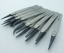 8PCS Plastic Head Stainless Steel Tweezers Antistatic Plier Tools for IC SMD SMT