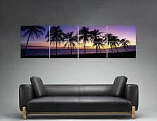 Sunset beach Palmier Purple Color Panorama Poster Grand format 168cm X 59,4CM