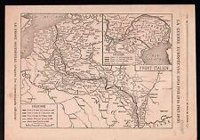 WWI Map Carte Nord Est France Belgique Alsace-Lorraine Trentin 1918 ILLUSTRATION