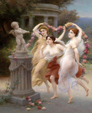 Canvas Print Classical oil painting 3 flower goddess Printed on canvas L1178