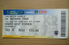 Tickets: 2004 Carling CUP RD 2- LEEDS UNITED v SWINDON TOWN, 21st September