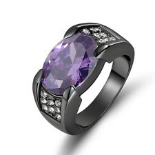 Jewelry Size 10 Halo Amethyst 10K Black Gold Filled Rare Mens Engagement Ring