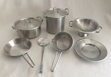 9pc Aluminum Cookware Toy Child Size Kitchen Play Food