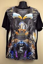 Sublimated T Shirt 2XL Eagle Cheetah Huge New York Black Tee Top XXL