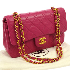 Auth CHANEL Quilted CC Double Flap Chain Shoulder Bag Pink Leather VTG V12701