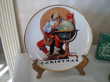 NORMAN ROCKWELL 1998 CHRISTMAS COLLECTOR PLATE - SANTA AT GLOBE -LIMITED ED