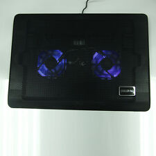 "USB LED Light 2 Fan Cooling Cooler Pad Adjustable Stand for 12""-17"" Laptop Black"