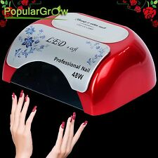 Red CCFL&LED 48W Nail Cure Lamp UV Gel Dryer Light Timer for Gel Polish nail art