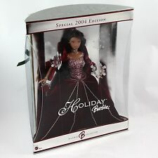 2004 Holiday Barbie African American Doll Burgundy Dress Special Edition