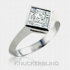 Genuine Diamond Engagement Ring 0.50ct Princess Cut F VS Solid 18ct White Gold