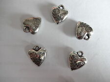 25x Puffed Heart 'Love' Charms Pendants Antique Silver Plated 16mm CCB