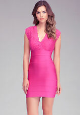 NWT BEBE berry pink lace bandage double v neck twofer top dress XS 0 2 club