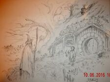J.R.R Tolkien, Original Pencil Sketch by Dave Ellis, signed