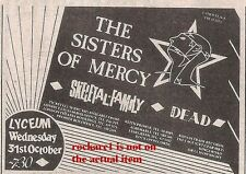 SISTERS OF MERCY UK TIMELINE Advert - Lyceum, London Fri-31-Oct-1984 3x3 inches