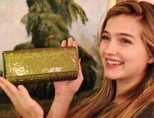Judith Leiber Ritz Fizz Envelope Clutch Swarovski Crystals Olivine Green Lime