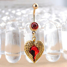 Radiant Love Heart Dangle Wing Body Piercing Crystal Navel Belly Button Ring Red