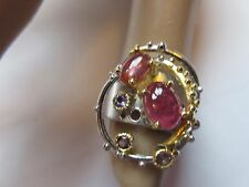 ARTISAN CRAFTED NATURAL RUBY 2-TONE 925 STERLING SILVER RING SZ/7.5