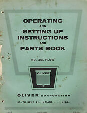 OLIVER VINTAGE 361 MTD. PLOW  OPERATOR'S PARTS  MANUAL