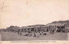 SAINT-GILLES-SUR-VIE colonie de vacances sur la plage timbrée 1934