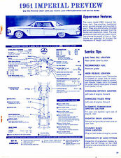 1961 CHRYSLER IMPERIAL 61 PREVIEW LUBE LUBRICATION CHARTS & PICTURES