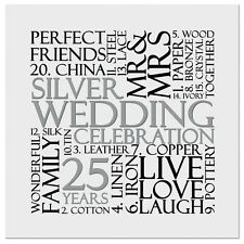 Silver 25th Wedding Anniversary Invite Invitation 10 pack UK FREE POST