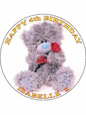 """TATTY TEDDY BEAR - DESIGN 1 PERSONALIZED 7.5"""" CIRCLE ICING CAKE TOPPER"""