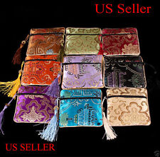 5 PIECES ASSORTED Colors Chinese Zipper Tassel Silk Square Jewelry Bags Pouches