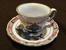 COFFEE CUP AND SAUCER IN ITALIAN POTTERY ITALY SIGMA BLUE CARNATION PATTERN
