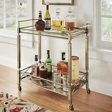 Portable Bar Cart Mobile Square Cocktail Serving Wheels Glass Top Brass Metal