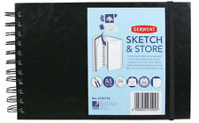 3 x Derwent Sketch & Store A5 Landscape Hard Back Sketch Book + Storage Pocket