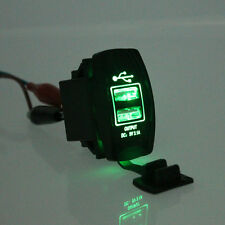 Universal Green LED Backlit  Car Motorcycle Dash Dual USB Port Charger Adapter