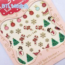 Christmas GOLD Snowflake Snowman Cane Bauble Xmas Tree 3D Nail Art Sticker Decal