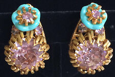 Vintage Miriam Haskell Earrings~Lilac Crystals/RS/Blue Glass/Gold Tone Filigree