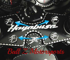 99-17 Hayabusa Black/Silver Engraved 3D Hex Ball Cut Triple Tree Bolt Plugs/Cap