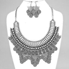 BOHO Antique Silver Gypsy Ethnic Coin Crystal Fringe Necklace Set