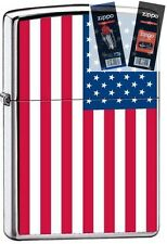 Zippo 7959 american flag US Lighter with *FLINT & WICK GIFT SET*