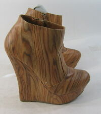 "Wood color 5.5""high  wedge heel 1.5"" platform ankle sexy boot    Size.  6"