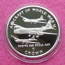 1995 isle of man avions de WW II B29 Enola Gay une preuve de la couronne silver coin