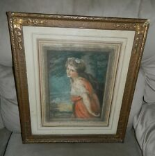 Antique Victorian Woman Red Dress Tree Colored Lithograph Hand Signed in Pencil