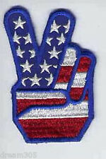 Vintage Chopper Motorcycle Patch! Bobber Peace Flag Hand 1970's