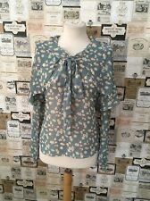 NEXT SIZE 8 BLUE & CREAM FLORAL LAYERED LONG SLEEVE BLOUSE EXCELLENT CONDITION